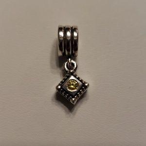 Pandora Retired Diamond Shape Yellow CZ Charm